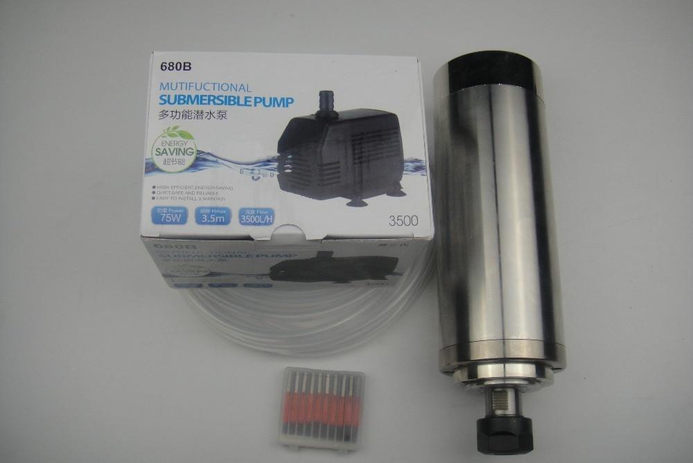 CNC maróorsó ER20 2.2KW vízhűtő orsó +1 vízszivattyú + 1 vízcső + CNC gravírozó bit