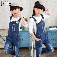 Skinny Jeans Children 2017 Autumn Hot New Brand Children Girl Denim Jumpsuit Kids Jeans Overalls for 4-13-14 Year Toddler