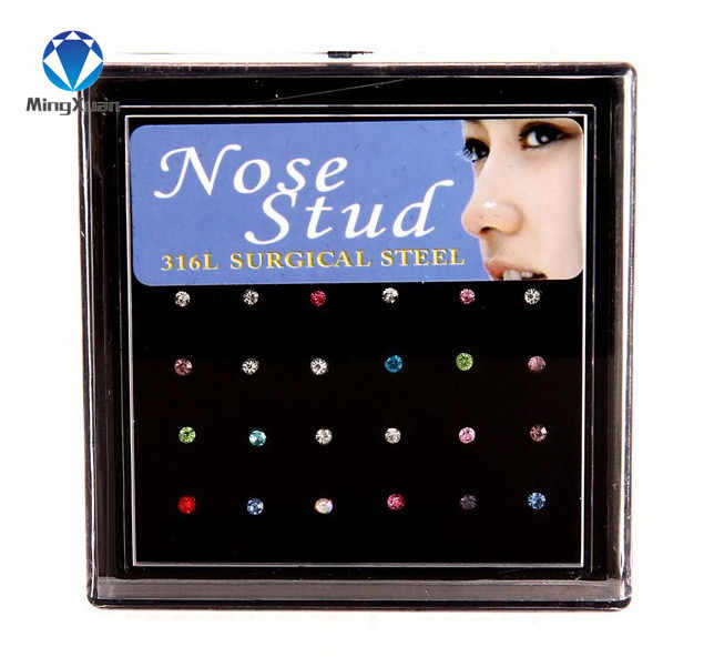 MINGXUAN 24Pcs/Set False Nose Ring Puncture Stainless Steel Nose Nail Boxed Anti-Allergic Rings And Studs Body Jewelry Piercing