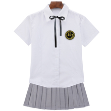 UPHYD Cosplay School Uniform S-2XL Chorus School Girls Sailor Uniforms White Shirt and Grey Skirt with Tie