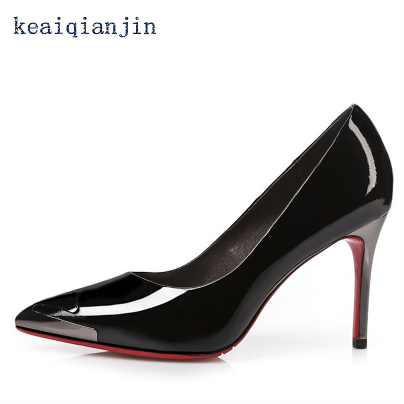 ФОТО Sequined Thin Heels Pumps 2016 Spring/Autumn High Quality Patent Leather Full Grain Leather Shoe Black Red White Pointed Toe 9cm