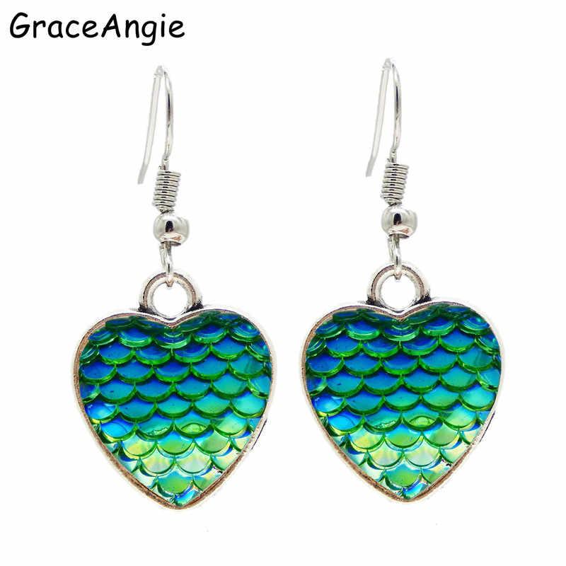 5db73494d6 GraceAngie Love Heart Earrings Mermaid Fish Colorful Elegant Women Earrings  Jewellery Earrings for women Drop Earrings