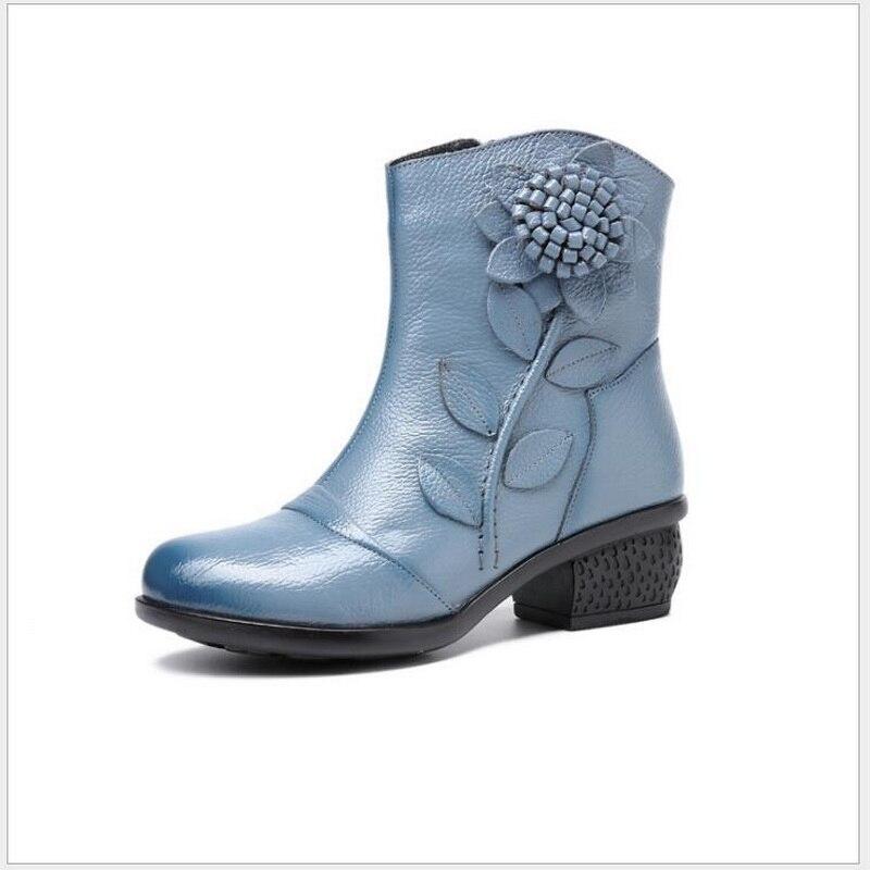 Folk Chaussures Bottes Moyen Court Femmes Travail Cuir Noir Manuel De rouge Style Boot bleu En Courtes Rétro Talon Tube Hiver Fleur Épais Véritable Coton 0wadAtxa