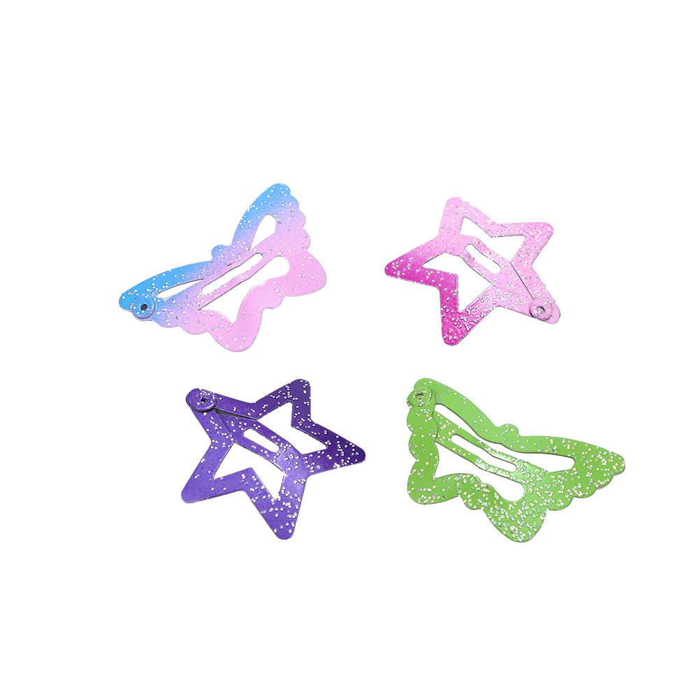 12pcs//Lot Star Butterfly Hair sClip Snaps For Girls Baby Kids Head Accessories