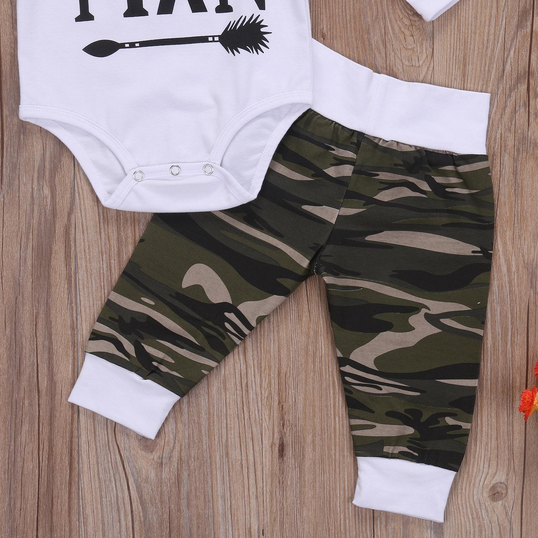 3 PCS Set Camo Baru Lahir Bayi Laki laki Pakaian Pria Kecil Katun Lengan Panjang Baju Monyet Bodysuit Tops Panjang Pant celana Topi Kid Pakaian Set di Set