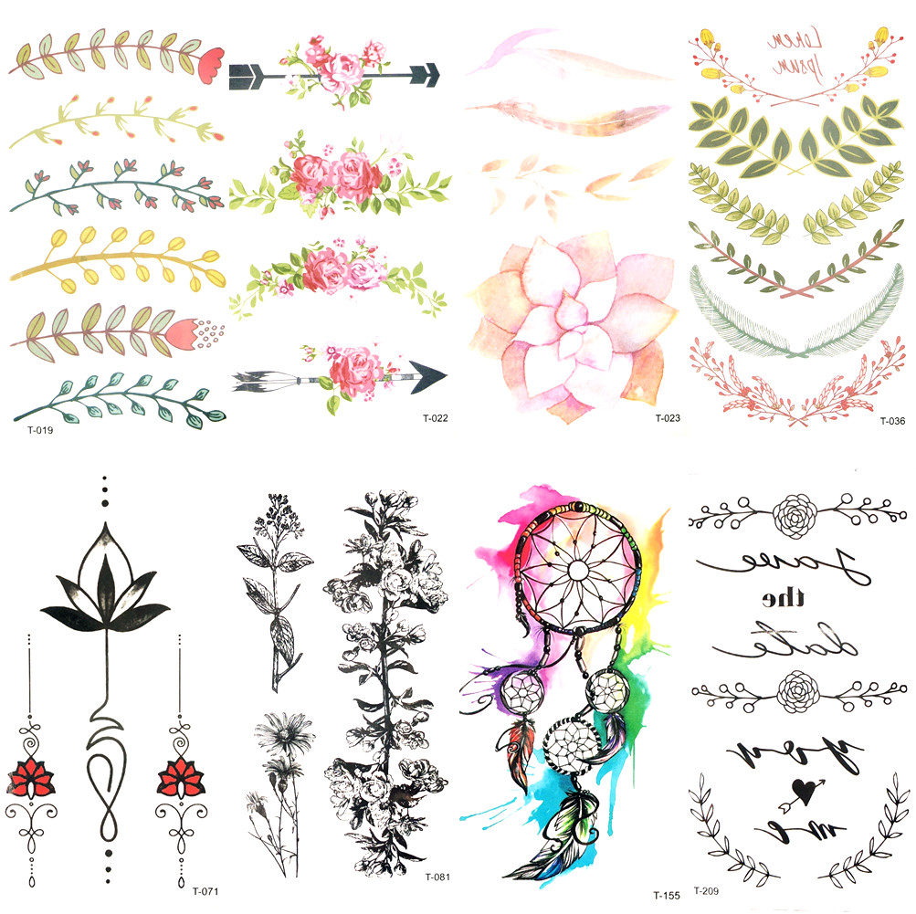 Water Color Leaf Flower Arrow Temporary Tattoo Girl Wrist Party Tattoo Sticker Transferable Body Arm Art Fake Flash Tatto Women