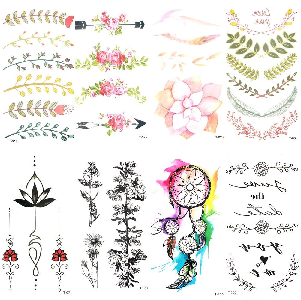 Water Color Leaf Flower Arrow Temporary Tattoo Girl Wrist Party Tattoo Sticker Transferable Body Arm Art Fake Flash Tatto Women