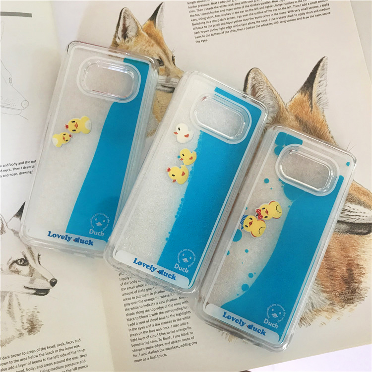 Half-wrapped Case Hearty Vonada Cute Case For Samsung Galaxy Note 5 Unique Floating Swimming Liquid Rubber Duck Blue Water Pc Hard Phone Case Cover