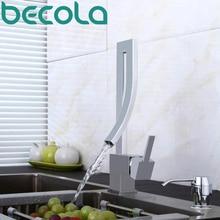 Becola новый дизайн кухонный кран моды уникальный стиль латунь хром кран поворотным изливом мойки смесители B-0005