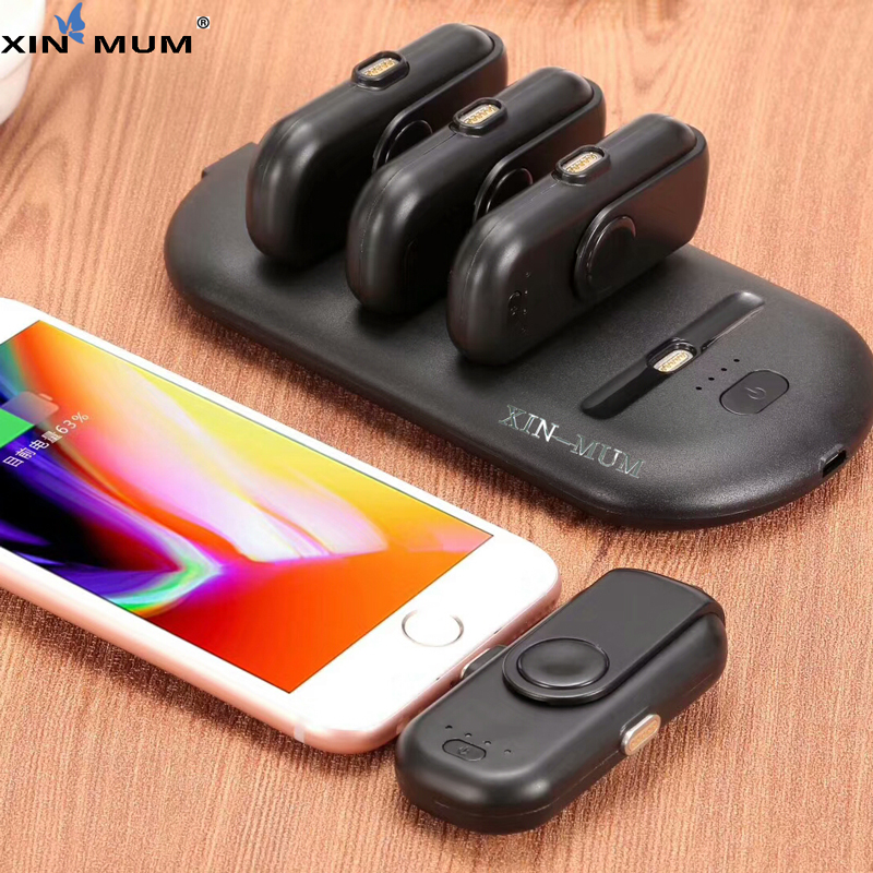 XIN-MUM Pad Finger 5 Charging Packs Powerbank Magnetic attraction Power Bank Charger for iPhone Android Type C Moblie Phones