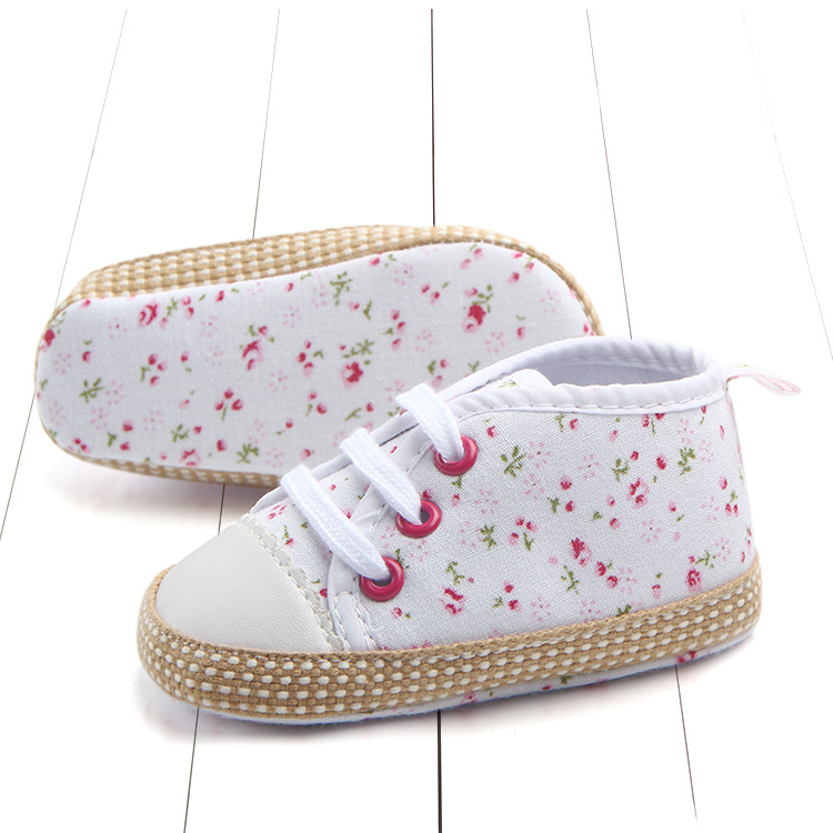 Hot Sale Toddler Baby Girls Shoes Floral Printing Casual Sneaker Slip-On Soft Sole Crib Shoes First Walker Shoes Fashion