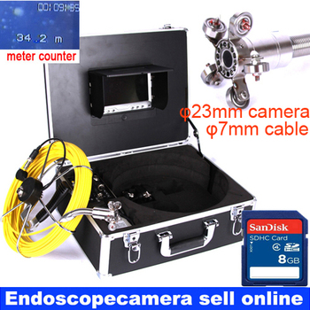 40m DVR Pipe Wall Sewer Inspection Camera System,Industrial Pipe Car Video Inspection Endoscope Camera 23mm camera 7mm cable