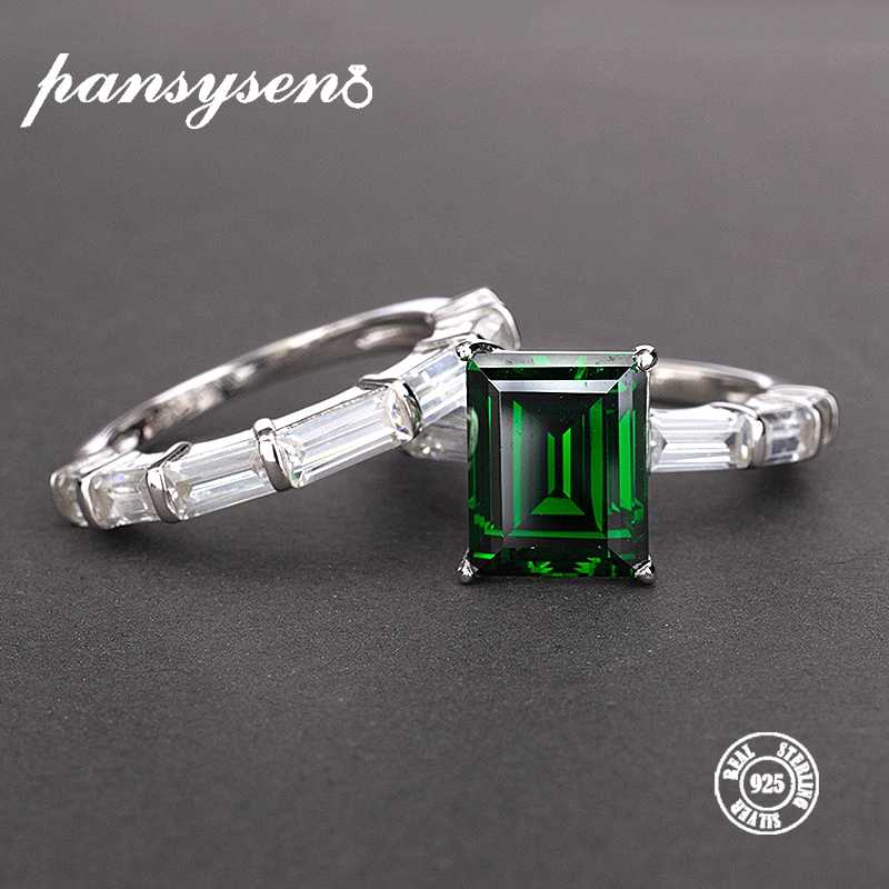 PANSYSEN Real 925 Sterling Silver Rings For Women 100% Natural Emerald Gemstone Fine Jewelry Wedding Engagement Ring 2019 Newly