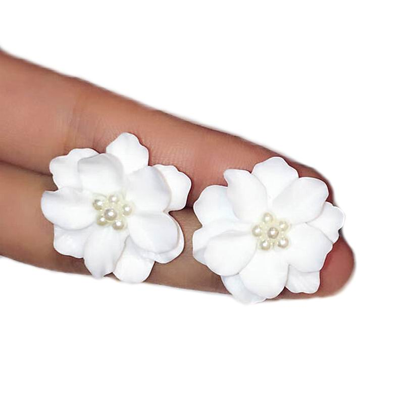 Classics Big White Flower kõrvarõngad naistele Fashion Jewelry Party Casual 2018 Holiday Studs Elegantne Bijoux kleit tarvikud