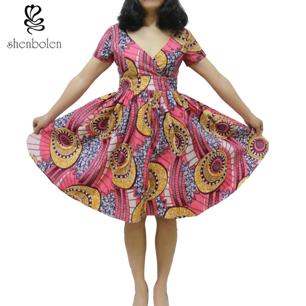 da9cb19dce1 African dresses for women ankara style dress african wax print fabric  v-neck clothes 100