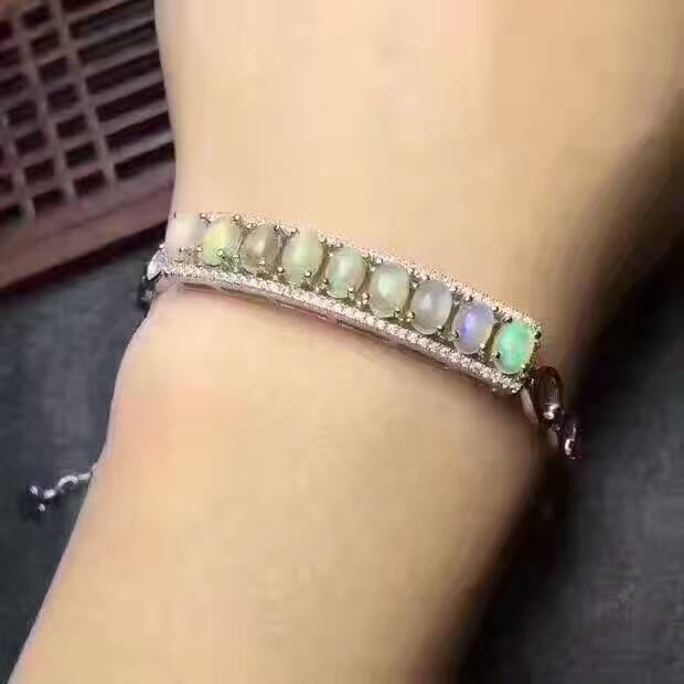 Natural multicolor opal Bracelet Natural gemstone Bracelet S925 silver bracelet luxurious Elegant row block women party Jewelery-in Bracelets & Bangles from Jewelry & Accessories    2