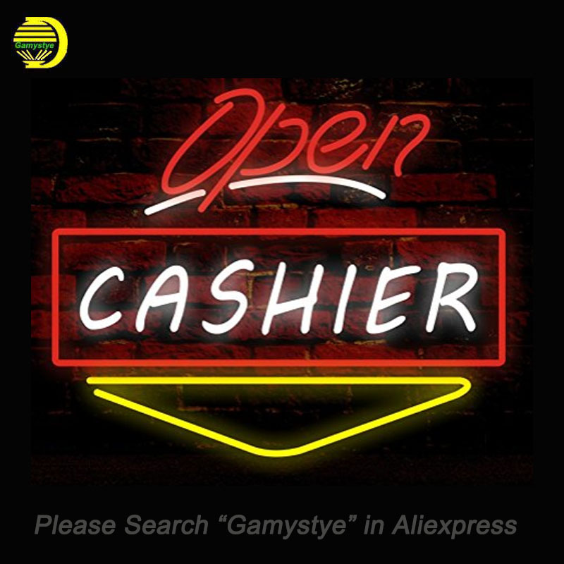 Open CASHIER Neon Sign Bulb neon signs for sale Real Glass