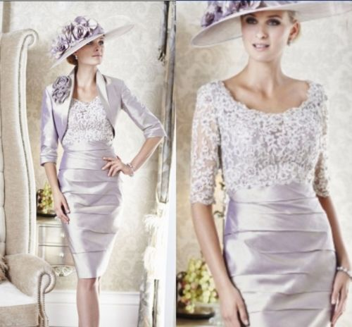 2014 free shipping knee length lace silver mother of the for Dress and jacket for wedding guest