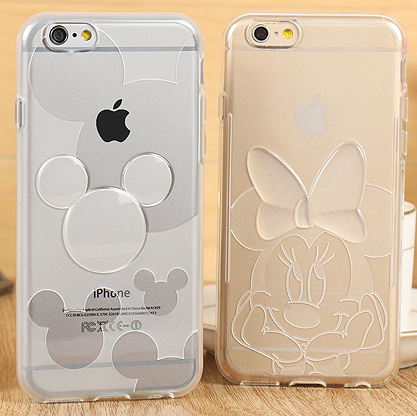 Hot Minnie mickey Transparent Soft TPU Cover Cases For iPhone 6/6s 4.7″ Phone Cases