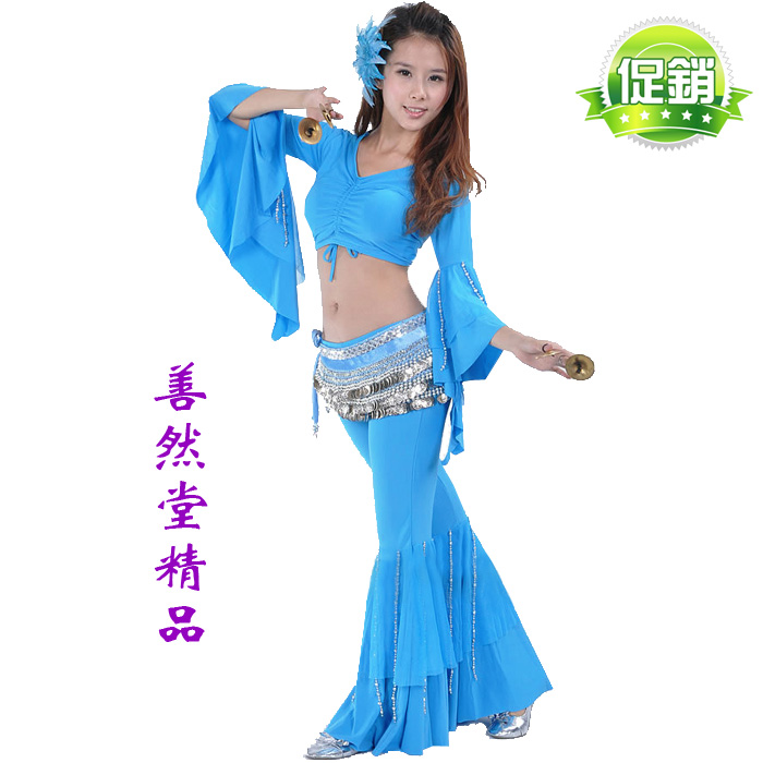 Extra Large Plus Size belly dance set silver beads flare ...