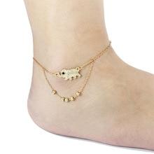 Kittenup Новый Простой Моды Золотой Цвет Серебристый Цвет Симпатичные Слон Ножные Браслеты для Женщин Ноги Ювелирные Изделия