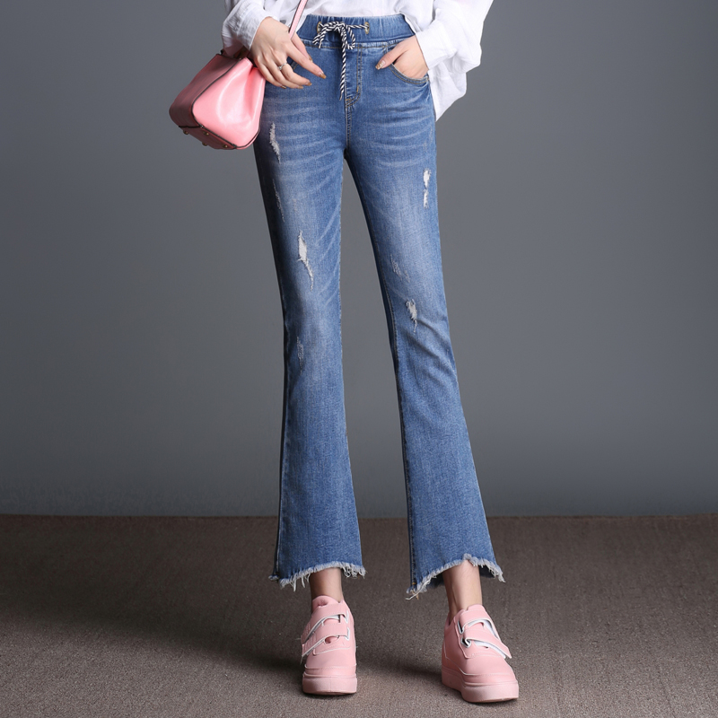 FOKINOFE Elastic Ankle Length Hole Boot Cut Woman Jeans Torn Edges High Waist Flare Jeans 2017 Spring Plus Size Woman Jeans mini led g4 bulb 3w dc12v g4 led lamp cob led light chandelier lamps high quality lighting dimmable replace halogen lights