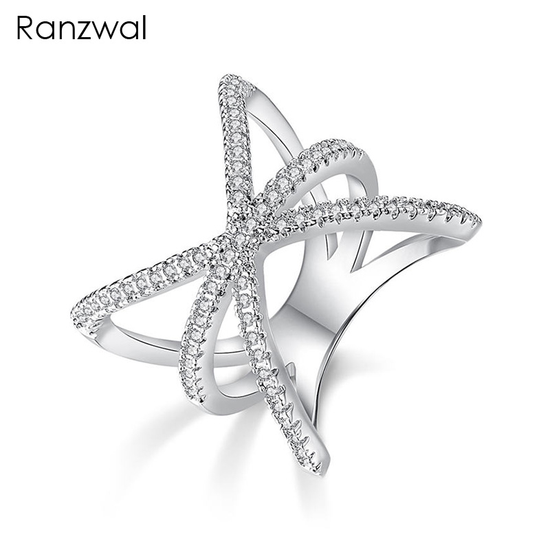 Ranzwal Unique Design Exaggerated X Cubic Zircon Rings for Women Fashion Cross Finger Ring US SIZE 6~9 ARI004