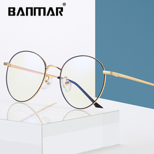 BANMAR Computer Round Frame Glasses Women Rays Radiation Gaming Eyewear Frames Metal Unisex Anti Blue Light Men Optical