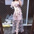 Nueva llegada del verano rosa de gasa perspectivity bordado 3d tridimensional de la flor hecha a mano de flores de una sola pieza del vestido lleno
