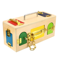 Montessori Wooden Children's Small Lock Box Practical Materials Early Childhood Education Small Lock Box Toddler Unlocking Toys