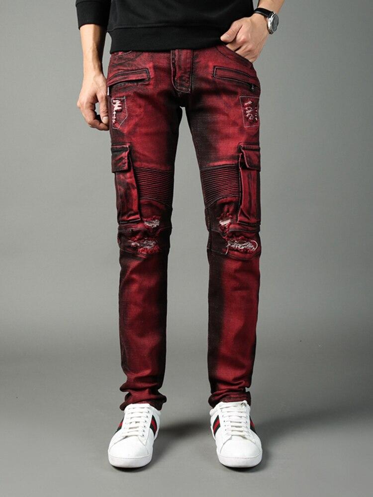 High Street Fashion Men Jeans Hip Hop Big Pockets Denim Cargo Pants hombre Red Color Slim Fit Ripped Jeans Men Biker Jeans homme