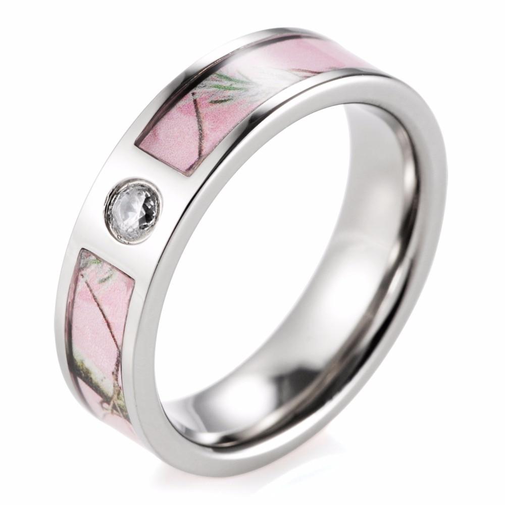 Women Rings Pink Camo Engagement Wedding Ring Titanium Cz Crystal Wild Tree  Camo Fashion Ring For