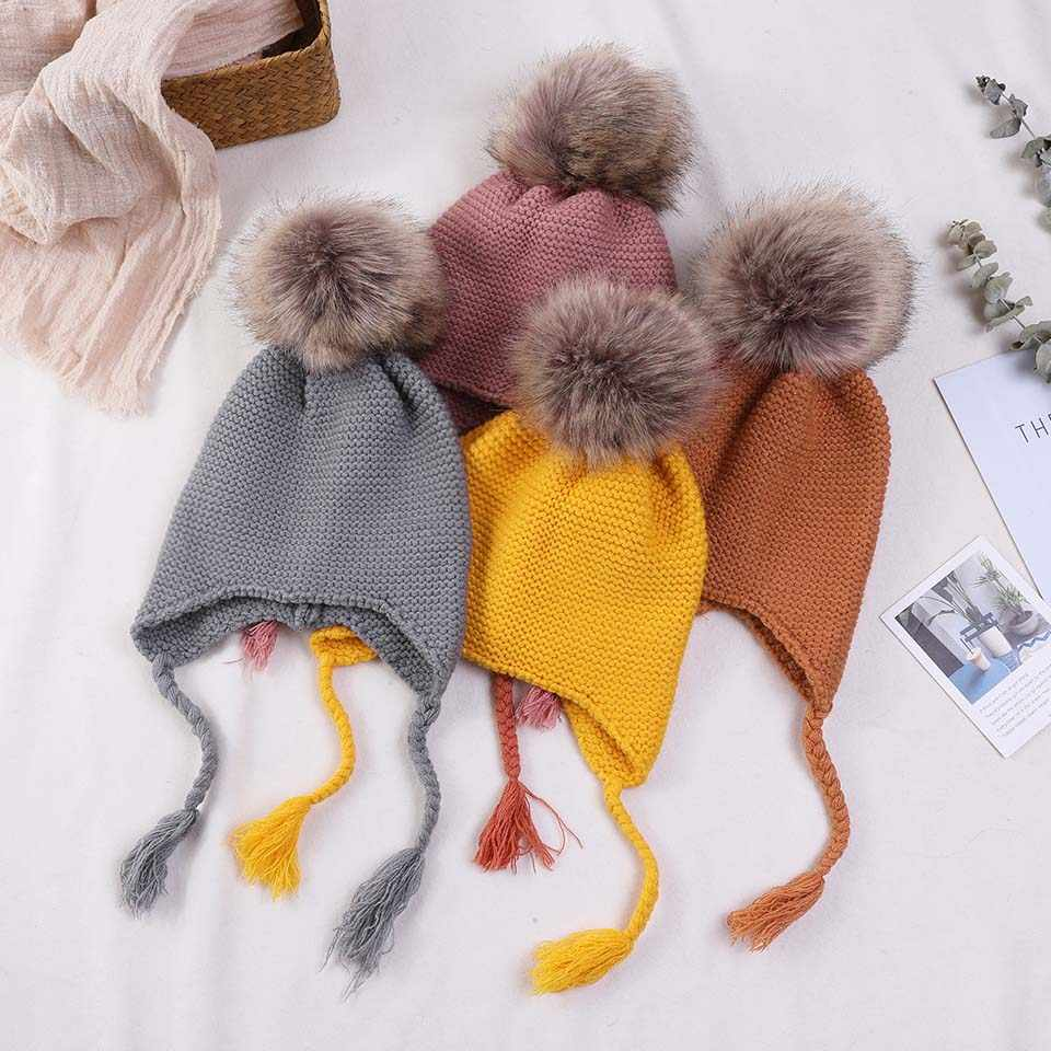 a8517448eef Detail Feedback Questions about Knitted Winter Baby Warm Hats Children Fur Pom  Pom Hats Baby Girls Boys Kids Skullies Beanies Winter Hat Child Toddler ...