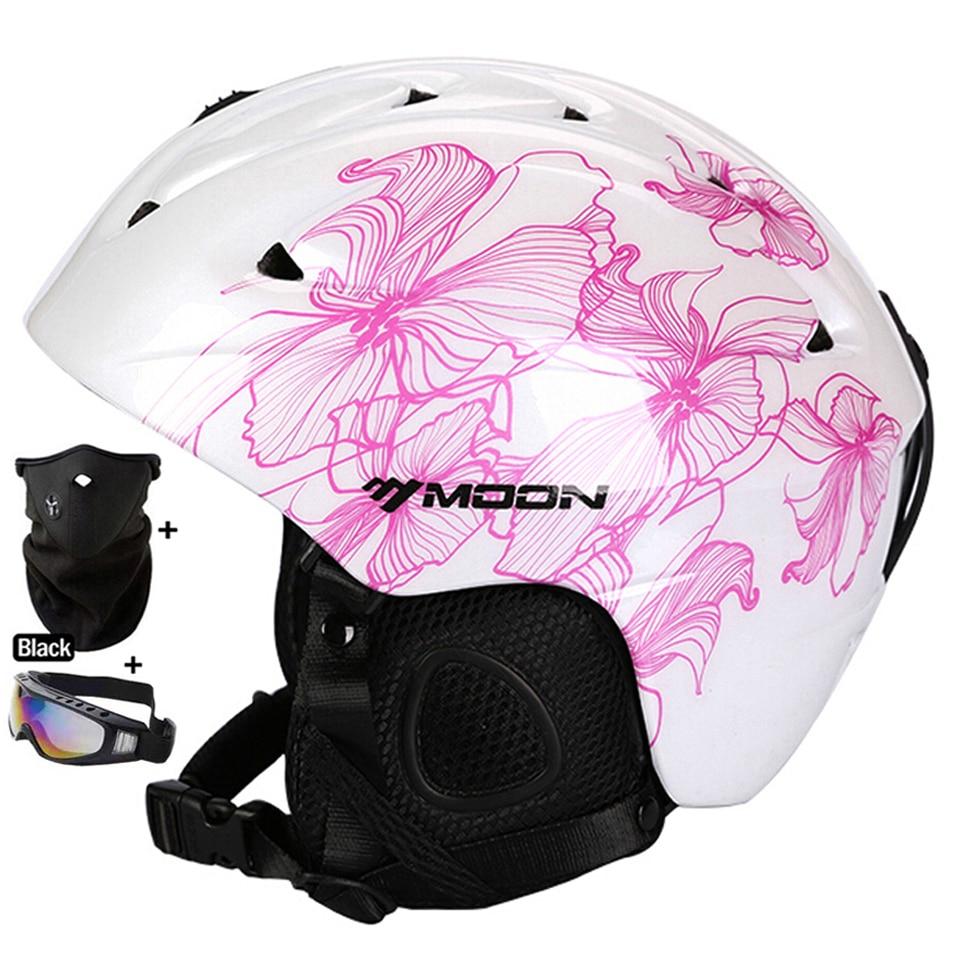 ФОТО MOON Skiing Helmet Autumn Winter Adult and Children Snowboard Skateboard Skiing Equipment Snow Sports Safty Ski Helmets