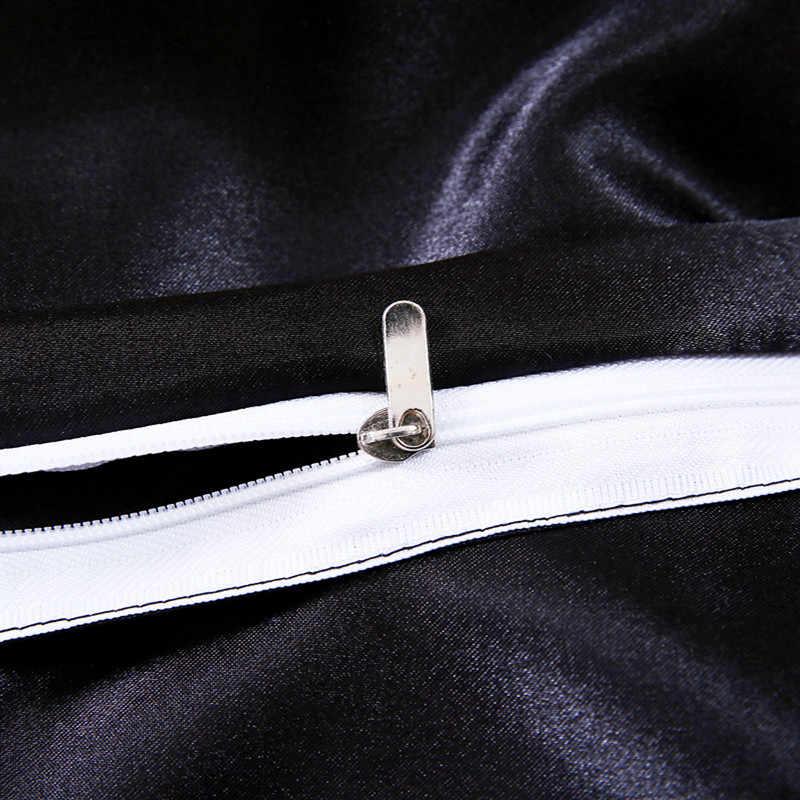 Полный/queen/King шелковые постельные принадлежности одеяло/пододеяльник наборы черный (золото, серебро) атласный шелк постельные принадлежности 4 шт. пододеяльник набор простыня