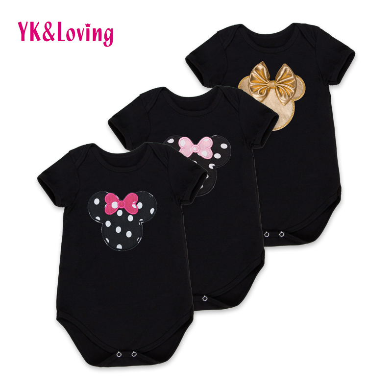 Cheap Retail Summer Girls Rompers  YK&Loving Casual Short Sleeves Baby Children Clothing for 1st Birthday Gifs High Quality