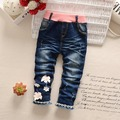 New Autumn Roupas Baby Girls Washed Sweet Flower Fringed Distrressed Princess Denim Jeans Full Length Pants Kids Trousers S3743
