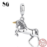 Original 925 Sterling Silver charm animal Pegasus Bead Fit Authentic Pandora beads for jewelry making Women Gifts accessories