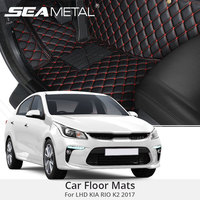 For LHD KIA RIO 4 K2 2018 2017 Car Floor Mats Cars 3D Custom Rugs Carpets PU Leather Black Red Covers Interior Auto Accessories