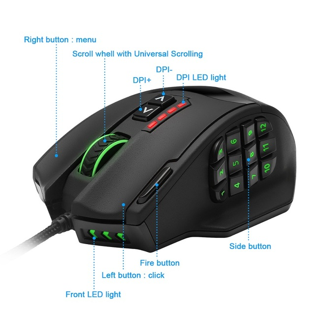 Rocketek USB Gaming Mouse 16400DPI 19 buttons ergonomic design 1