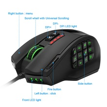 Rocketek Gaming series 50 to 16400 DPI High Precision Laser MMO Gaming Mouse for PC, 19 PCS Buttons [Compatible with Windows 10]