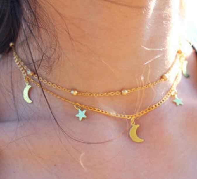 QHQ collane & pendenti Stelle luna collana in oro catena di aggancio di modo regali gioielli delle donne gioielli accessori gioielli femminile