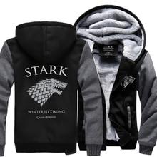 Game of Thrones House Stark Men Sweatshirt Winter Is Coming Hoodie 2017 spring winter warm fleece thicken men jacket Zipper coat