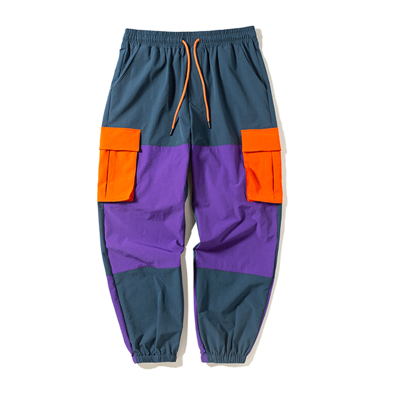 Vintage Patchwork Side Pocket 2019 Autumn Winter Hip Hop Windbreaker Trousers Men Harem Pants Joggers Pocket Loose Cargo Pants