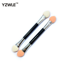 YZWLE 1pc Eyeshadow Applicator Pro Sponge Double Ended Make Up Supplies Portable Eye Shadow Brushes Nail Mirror Powder Brush
