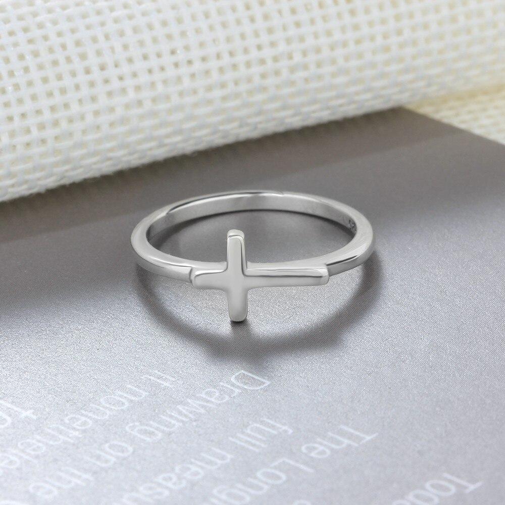 Symbol Of Faith Cross Shape 925 Sterling Silver Finger Rings For Women Jewelry Best Gift For Friends (RI102897)