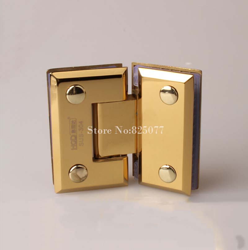 High Quality Titanium Gold 304 Stainless Steel Shower Bathroom Glass Door Hinges 135 Degree Glass Clamps Fixed Holder Brackets rose gold 180 degree hinge open 304 stainless steel glass shower door hinges for home bathroom furniture hardware hm155