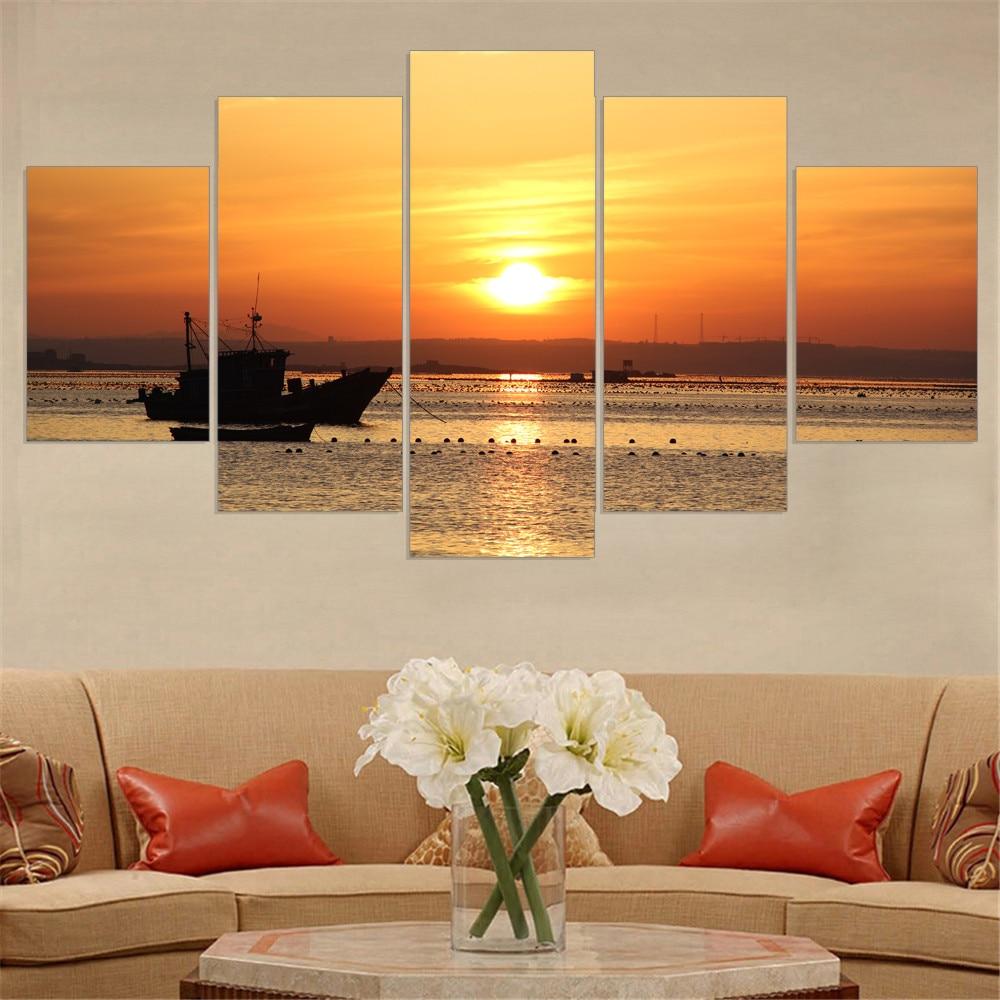 Aliexpress.com : Buy 5 Panels Dusk Sunset Boat Printed
