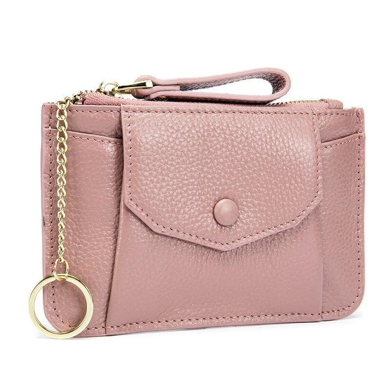 Genuine Leather Coin Purse Small Women Wallets Fashion Zipper Mini Change Money Bag Card Pocket Lovely Ladies Purses Key Chains
