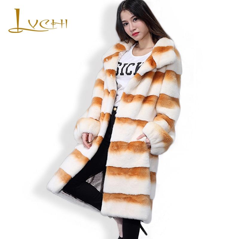 LVCHI 2019 Dlouhý pruh Pravý kožešinový kabát Zimní tlustá teplá bunda ženy přizpůsobitelné bohaté na sametové dámské svrchní oděvy